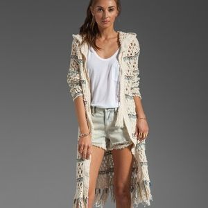 Free People Long Duster Fringe Cardigan Loose Knit